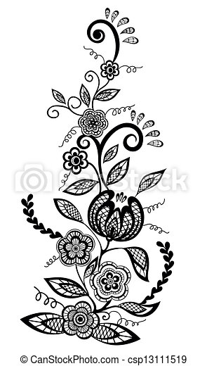 flowers and leaves design element - csp13111519