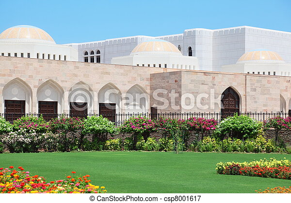 flowers and other vegetation in garden inside Sultan's Palace in Oman. - csp8001617