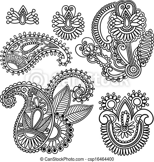 Flowers and Paisley Doodle Vector Illustration - csp16464400