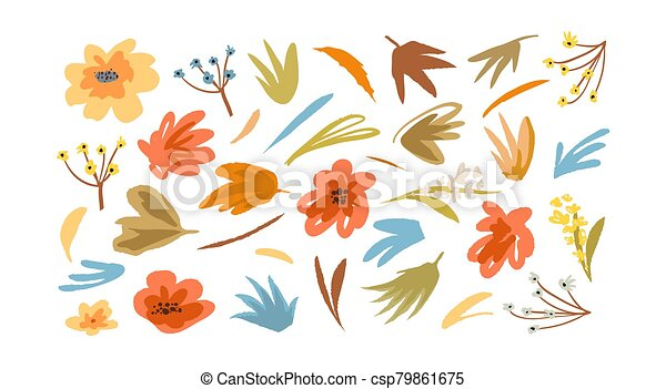 Flowers and plants elements colorful old fashioned clipart collection. Vector retro trendy graphic decorative summer or spring florals. - csp79861675