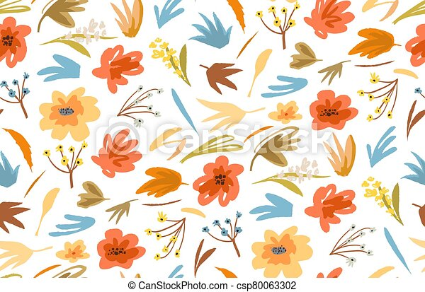 Flowers and plants seamless background vivid old fashioned abstract apparel print design. Vector retro trendy graphic decorative summer or spring florals. - csp80063302