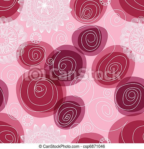 Flowers and swirls seamless pattern - csp6871046
