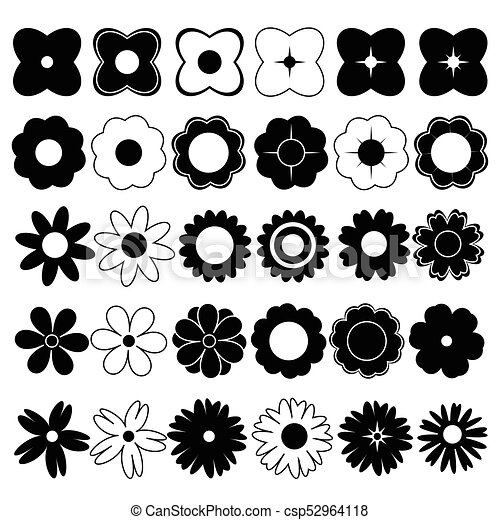Flowers black and white vector - csp52964118