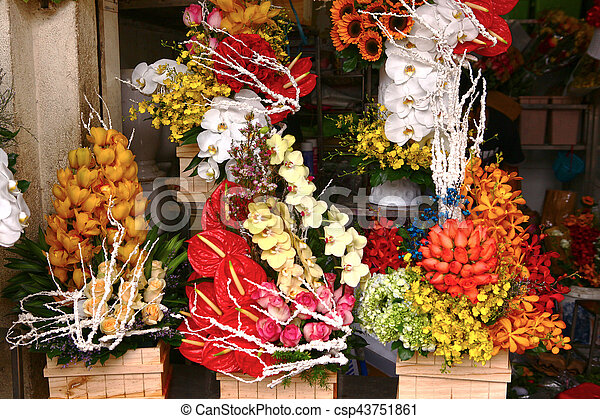 flowers bouquets on market for sail - csp43751861