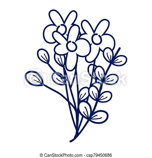 flowers branches leaves decoration cartoon isolated icon design line style - csp79450686