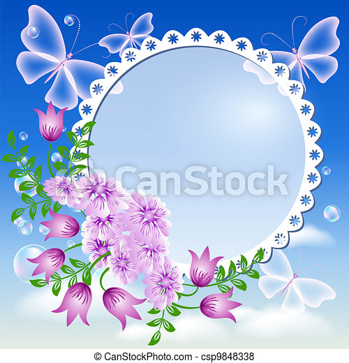 Flowers, butterflies  in the sky and photo frame - csp9848338