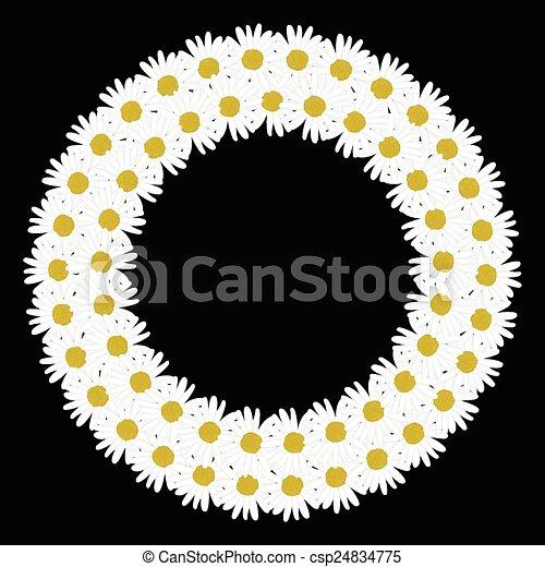Flowers daisy shape circle frame - csp24834775