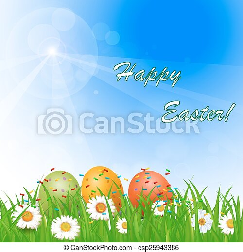 flowers, Easter eggs and butterflie - csp25943386