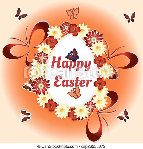 flowers, Easter eggs and butterflies - csp26555073