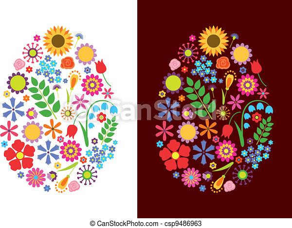 Flowers easter eggs - csp9486963