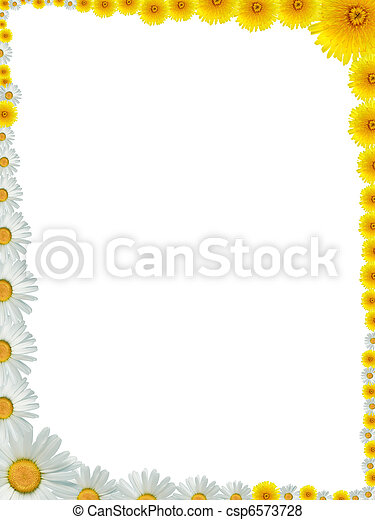 Flowers frame. Nice frame made from lot of yellow dandelion and ox ...