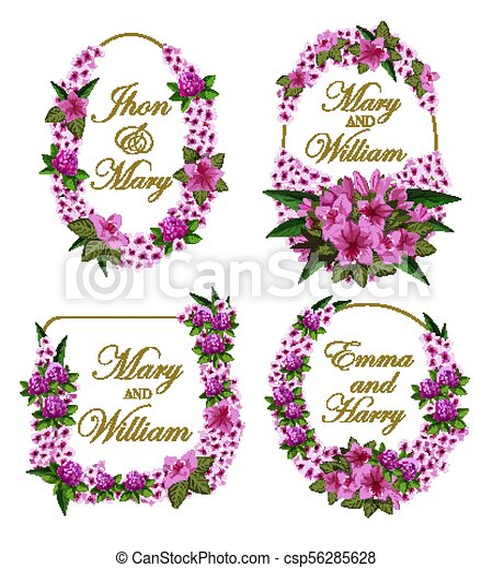 Flowers frames vector icons for wedding save date. Flowers icons for ...