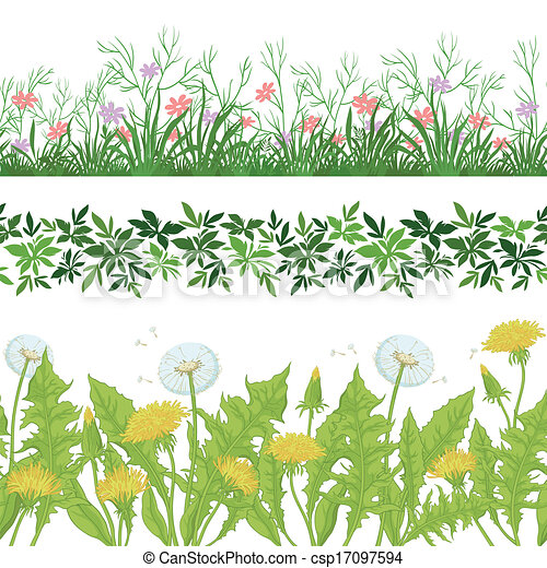 Flowers, grass and leaves seamless, set - csp17097594