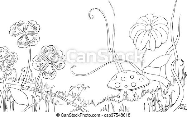 Flowers, grass and mushroom on the meadow. Coloring book.