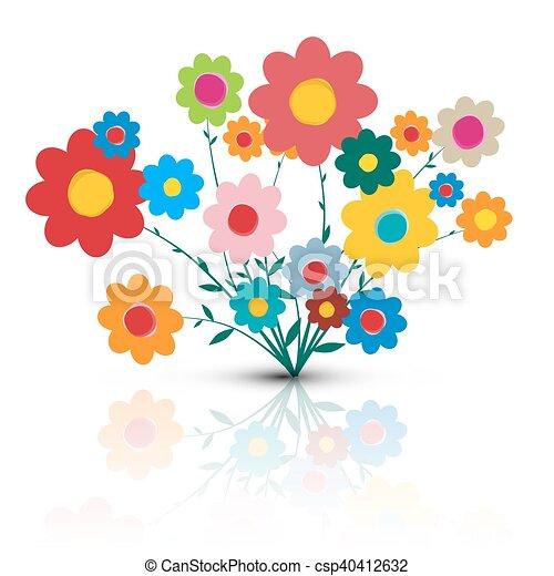 Fleur Illustration flowers illustration. vector flower cartoon. retro colorful flowers