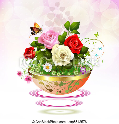 Clip art vector of flowers in flowerpot with roses and butterflies flowers in flowerpot csp8843576 ccuart Image collections