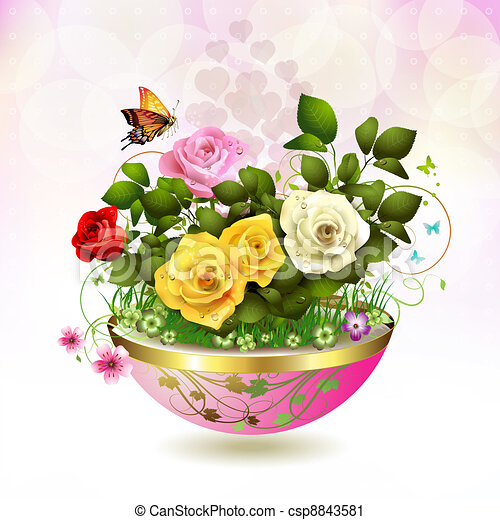 Vector clip art of flowers in flowerpot with roses and butterflies flowers in flowerpot csp8843581 ccuart Image collections