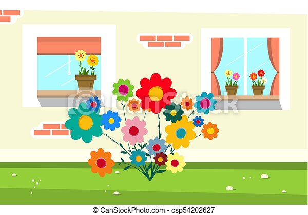 Flowers in front of House Wall - csp54202627