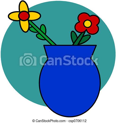 Flowers In Vase Simple Clip Art Of Flowers In A Blue Vase