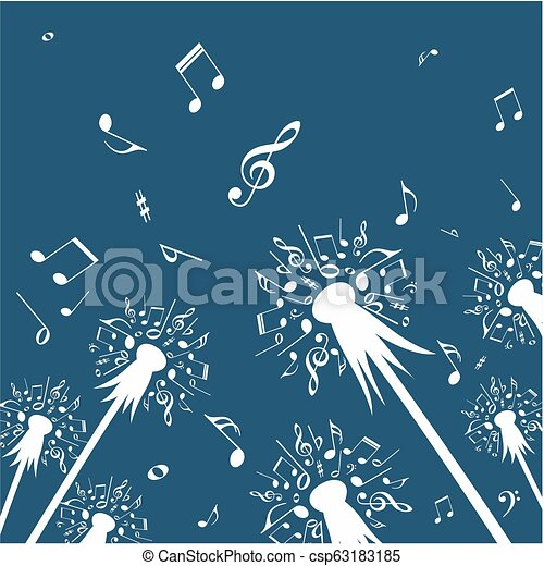 Flowers Of Dandelion With Music Notes The Drawing Of Flower Of