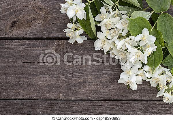 Flowers of jasmine on wooden background - csp49398993