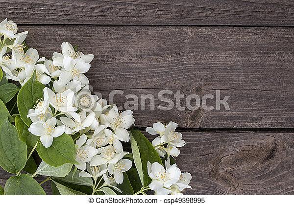 Flowers of jasmine on wooden background - csp49398995