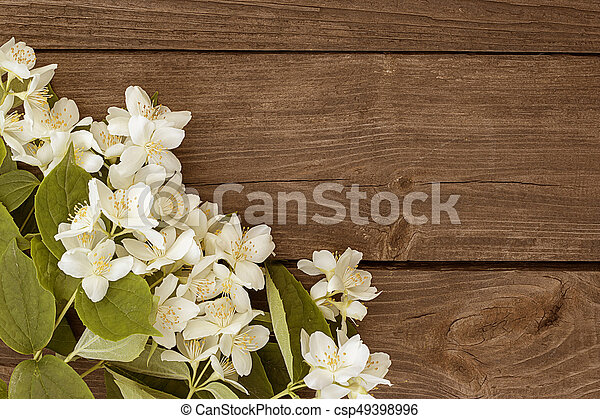 Flowers of jasmine on wooden background - csp49398996