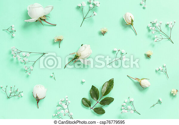 Flowers on a light blue background - csp76779595