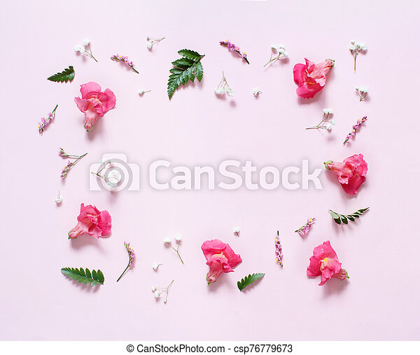 Flowers on a light pink background - csp76779673