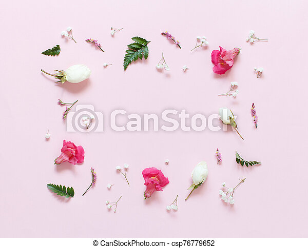 Flowers on a light pink background - csp76779652