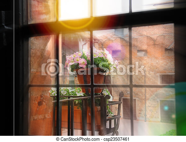 Flowers on balcony in rays of the sun - csp23507461