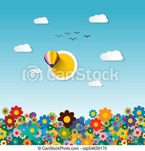 Flowers on Field. Vector Flat Design Illustration. - csp54639170