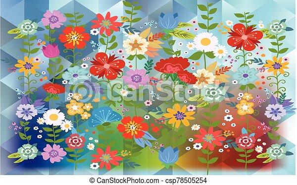 flowers on rainbow triangles background - csp78505254