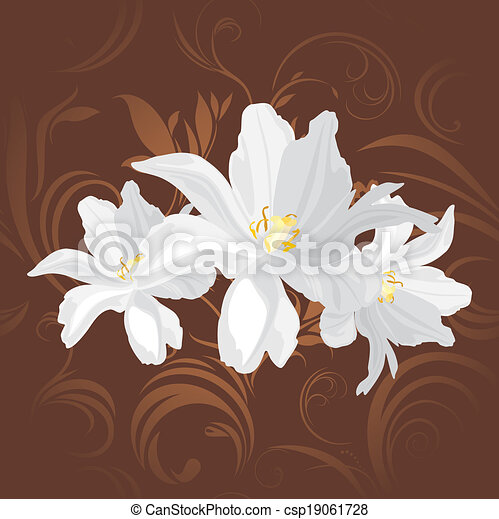 Flowers on the brown background - csp19061728