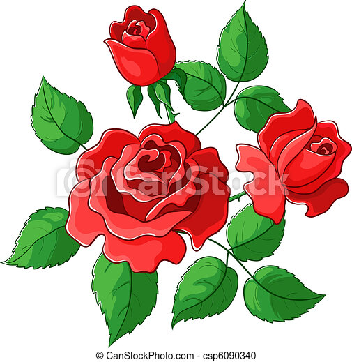 flowers roses vector red buds and green leaves vector clipart rh canstockphoto com rose vectoriel gratuit roses vector image