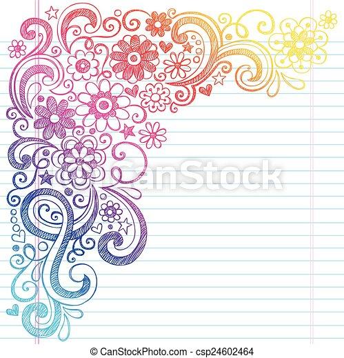 Flowers School Sketch Doodle Vector - csp24602464