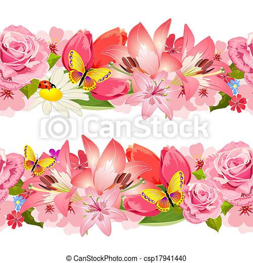 flowers., set, bordo, seamless, bellezza - csp17941440