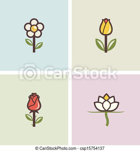 flowers set of icons - csp15754137