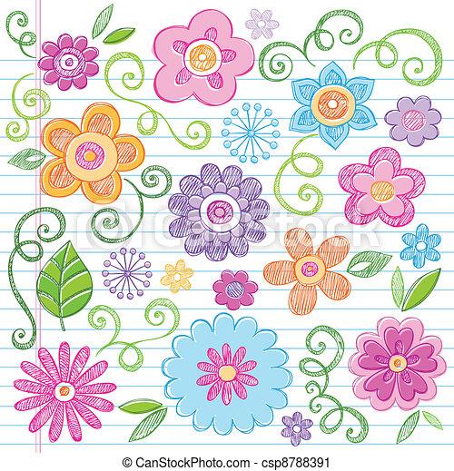 Flowers Sketchy Doodle Vector Set - csp8788391