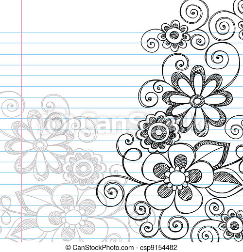 Flowers Sketchy Doodles Vector - csp9154482