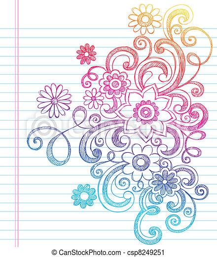 Flowers Sketchy Notebook Doodles - csp8249251