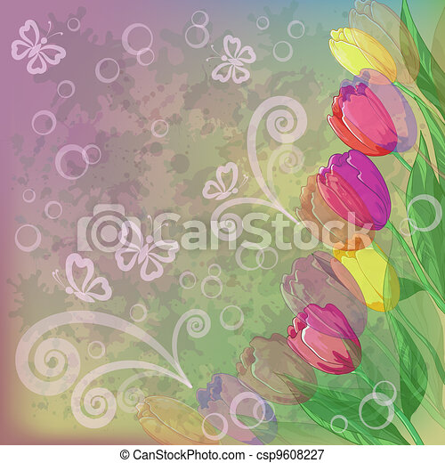 Flowers tulips on abstract background - csp9608227
