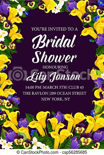 Flowers vector engagement party bridal shower. Engagement party or ...