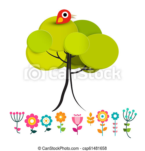 Flowers with Bird on Tree Vector - csp61481658