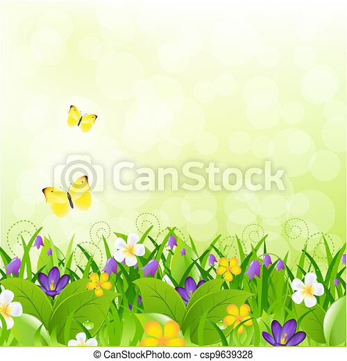 Flowers With Grass With Butterfly And Bokeh - csp9639328