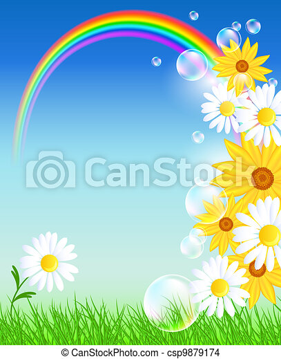 Flowers with green grass and rainbow - csp9879174