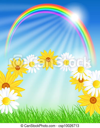 Flowers with green grass and rainbow - csp10026713