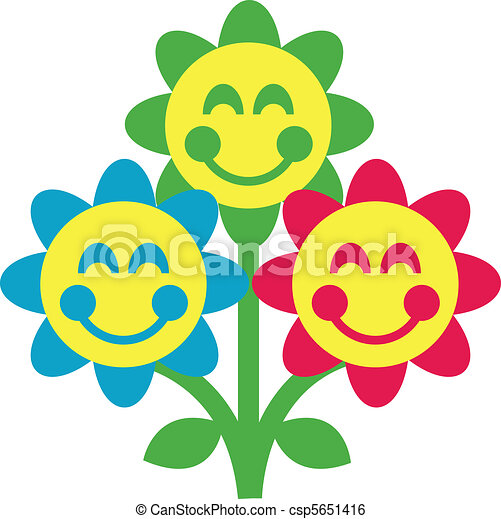 Flowers With Happy Faces Vector
