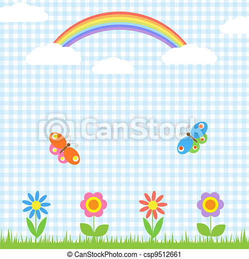 Flowers,butterflies and rainbow - csp9512661