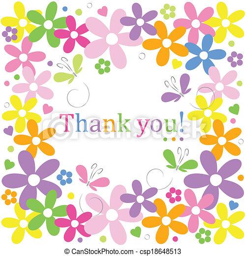 flowery thank you border - csp18648513